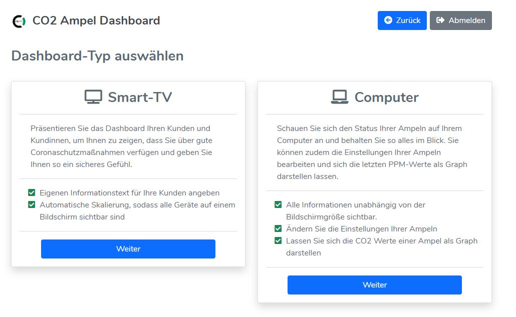 Auswahl Dashboard-Typen